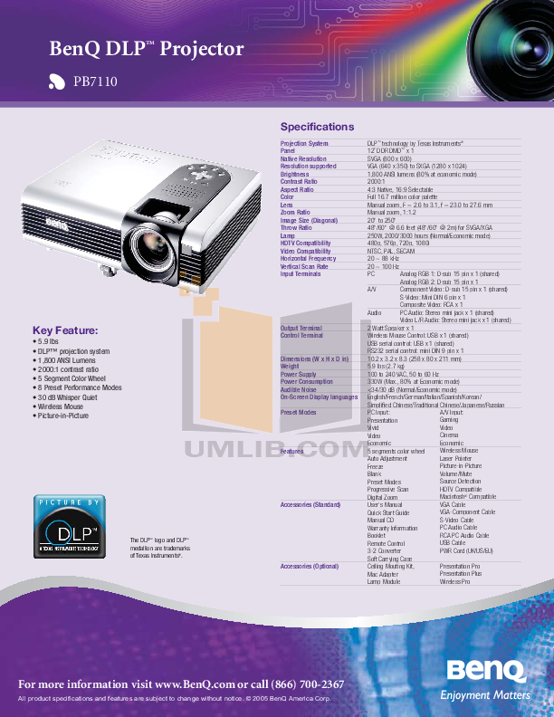 pdf for Benq Projector PB7110 manual