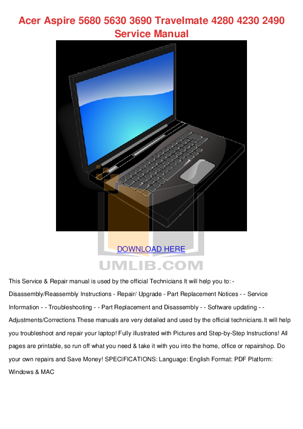 download free pdf for acer travelmate 5740 laptop manual rh umlib com acer aspire 5740 service manual download acer aspire 5740g service manual pdf