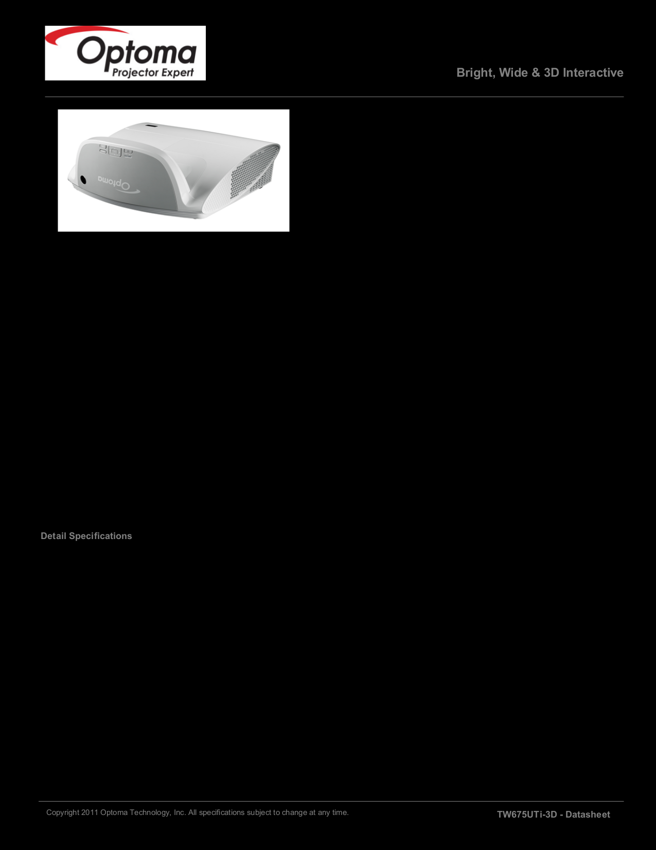 pdf for Optoma Projector TW675UTiM-3D manual