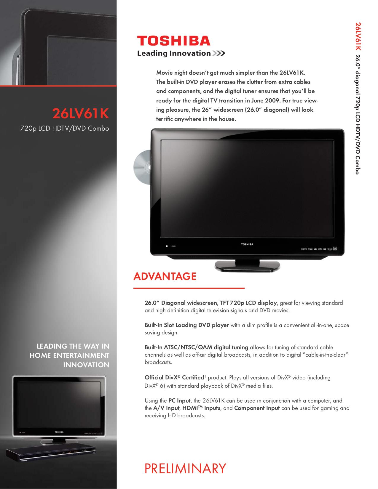 download free pdf for toshiba 26lv61k tv manual rh umlib com Toshiba DVD VCR Combo Box TV DVD VCR Combo Toshiba Tech Support