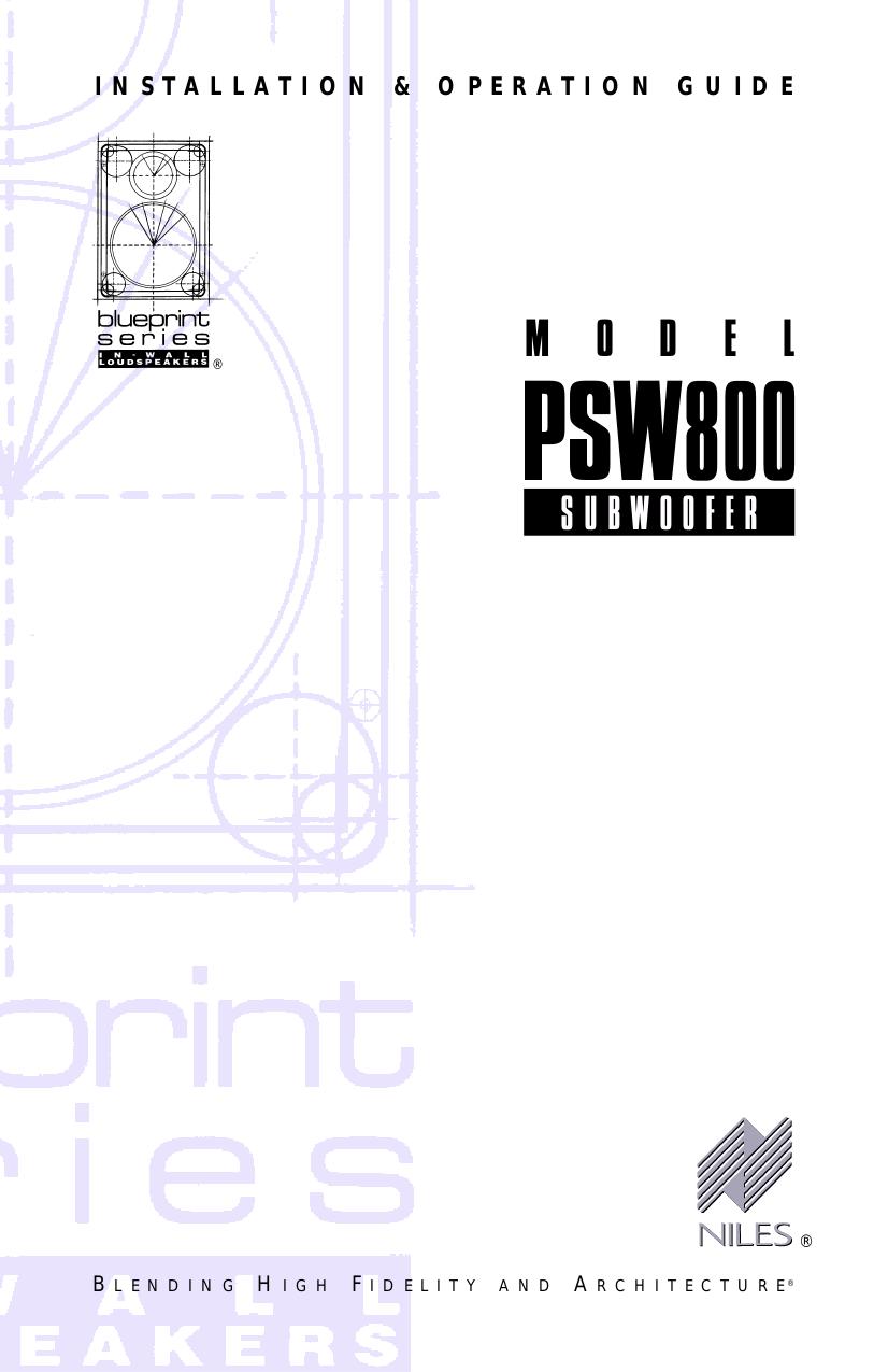 pdf for Niles Speaker PSW800 manual