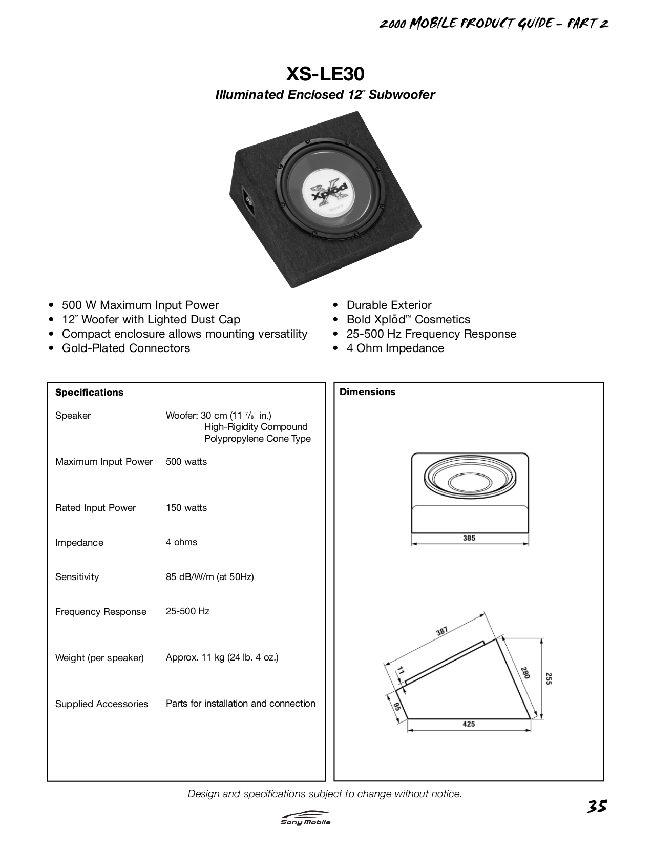pdf for Sony Subwoofer XS-LE30 manual
