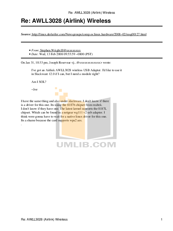 pdf for Airlink Other AWLL3028 Adapters manual