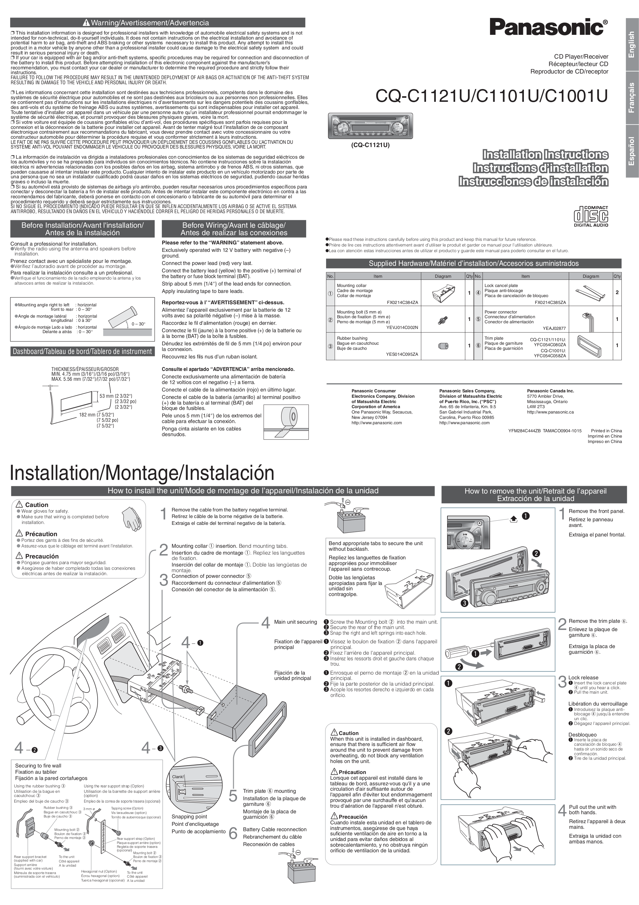 Panasonic Car Receiver CQ-C1121U pdf page preview ...