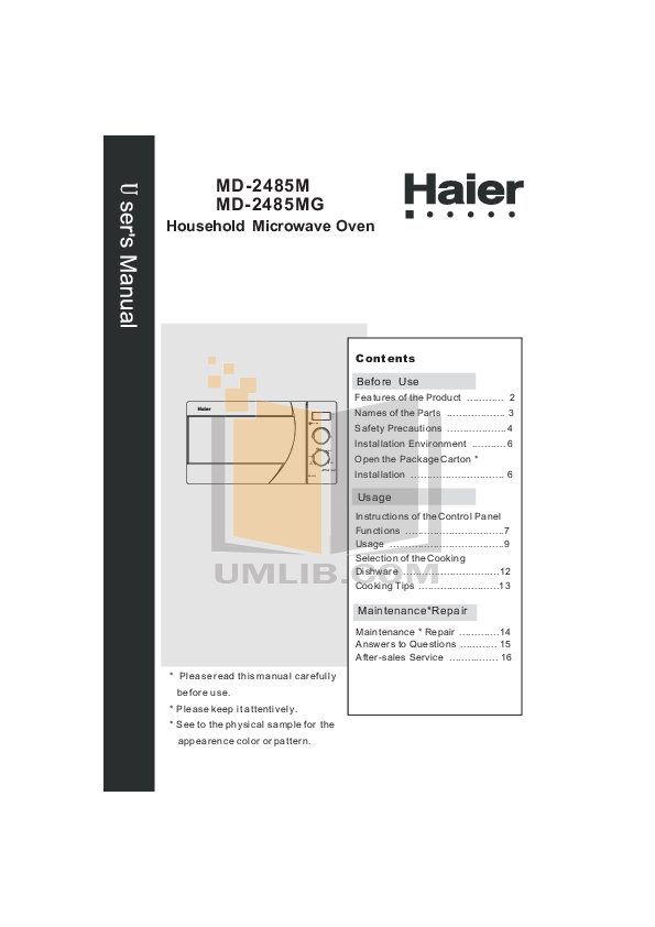 pdf for Haier Microwave MD-2485M manual