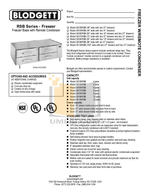 pdf for Blodgett Freezer 30084RSB manual