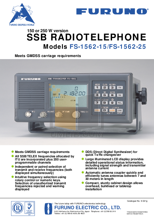 pdf for Furuno Other FS-1562 Radio Telephone manual