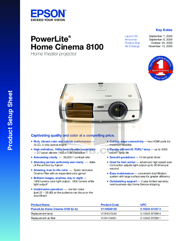 pdf for Epson Projector PowerLite 8100 manual