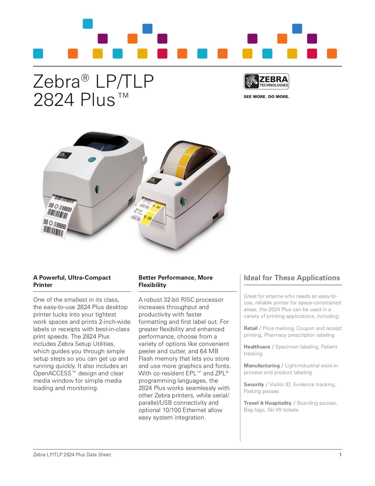 Download free pdf for Zebra TLP 2824 Printer manual
