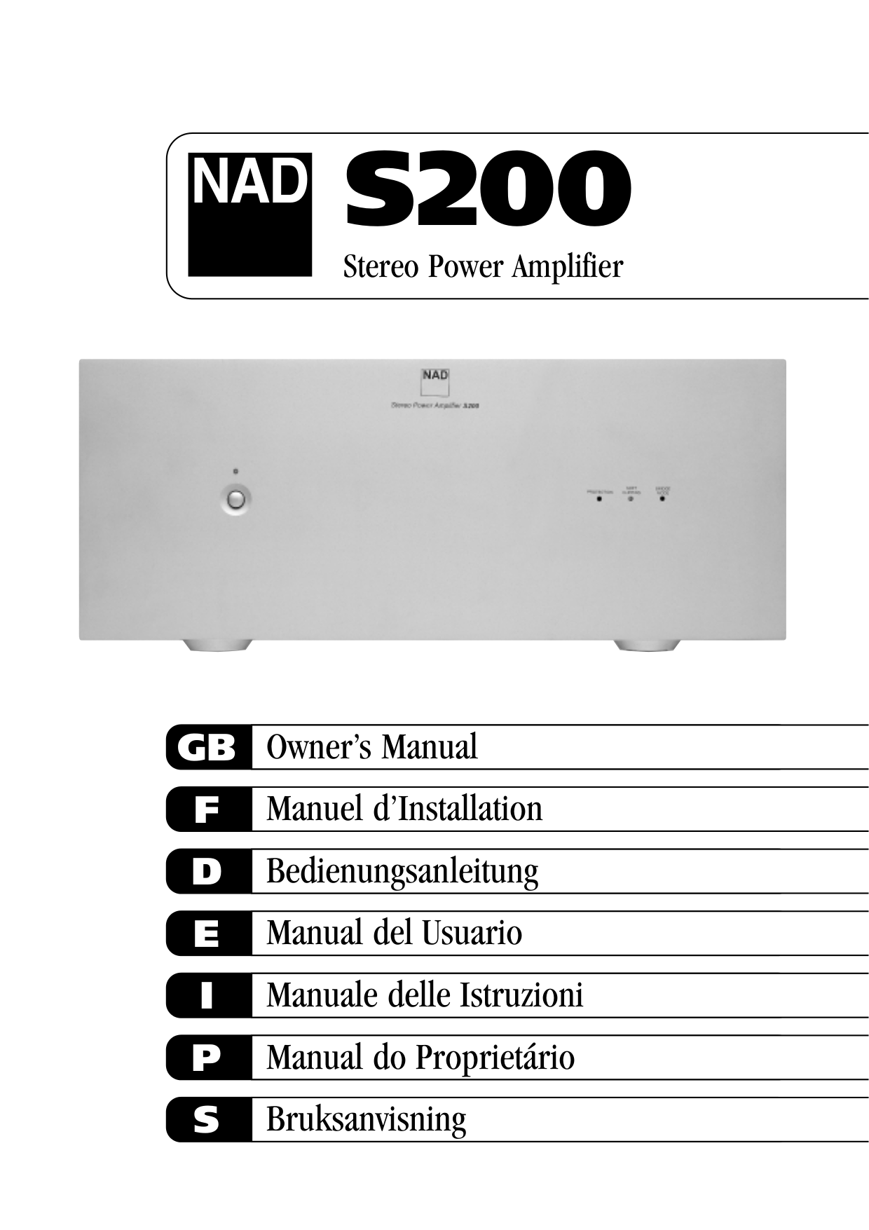 Download free pdf for NAD S200 Amp manual
