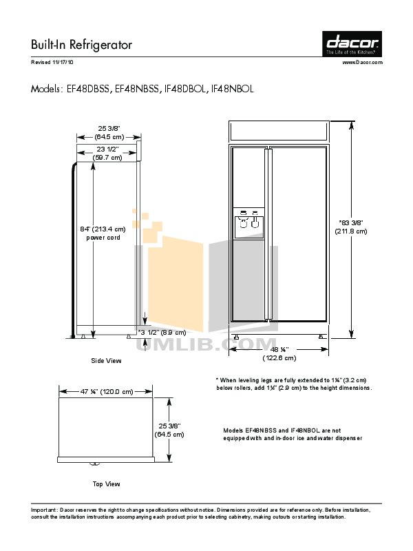 pdf for Dacor Refrigerator Integrated IF48NBOL manual