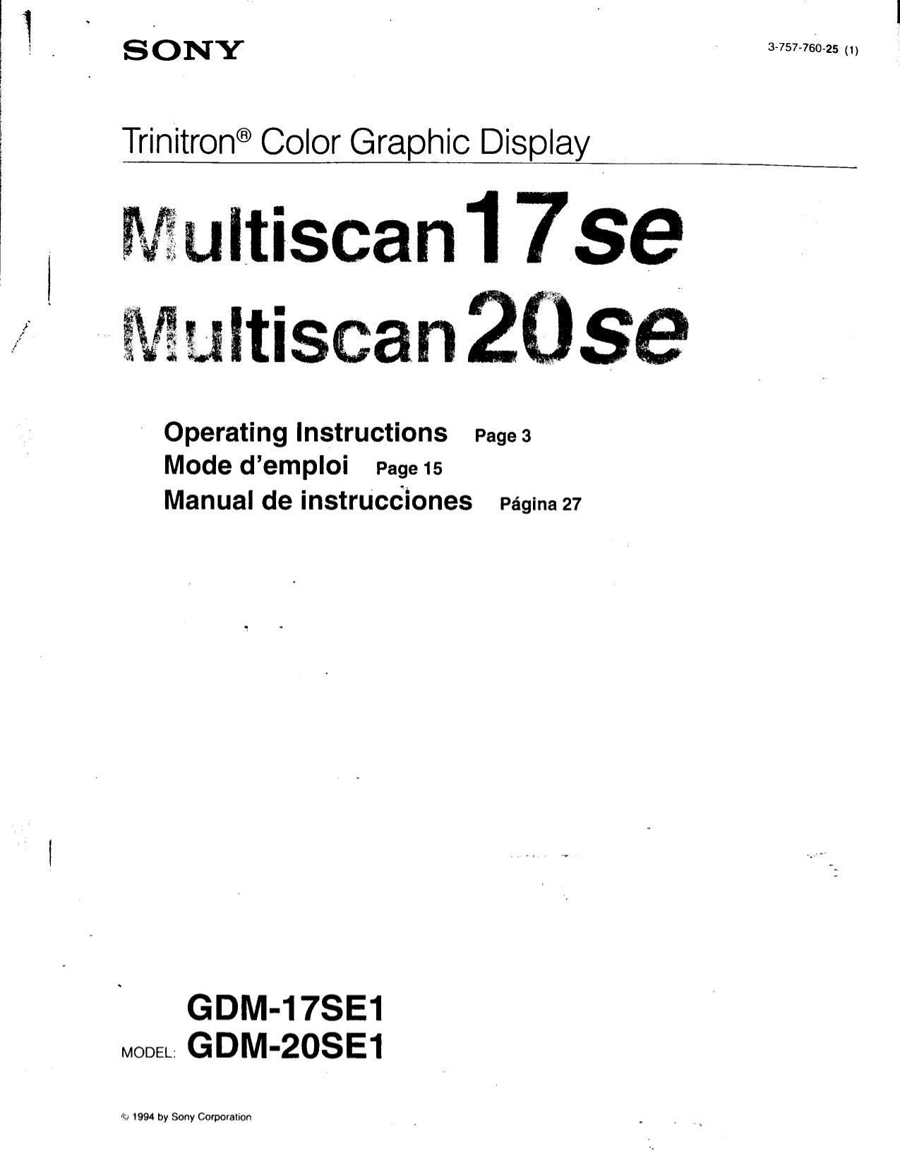 pdf for Sony Monitor GDM-17SE manual