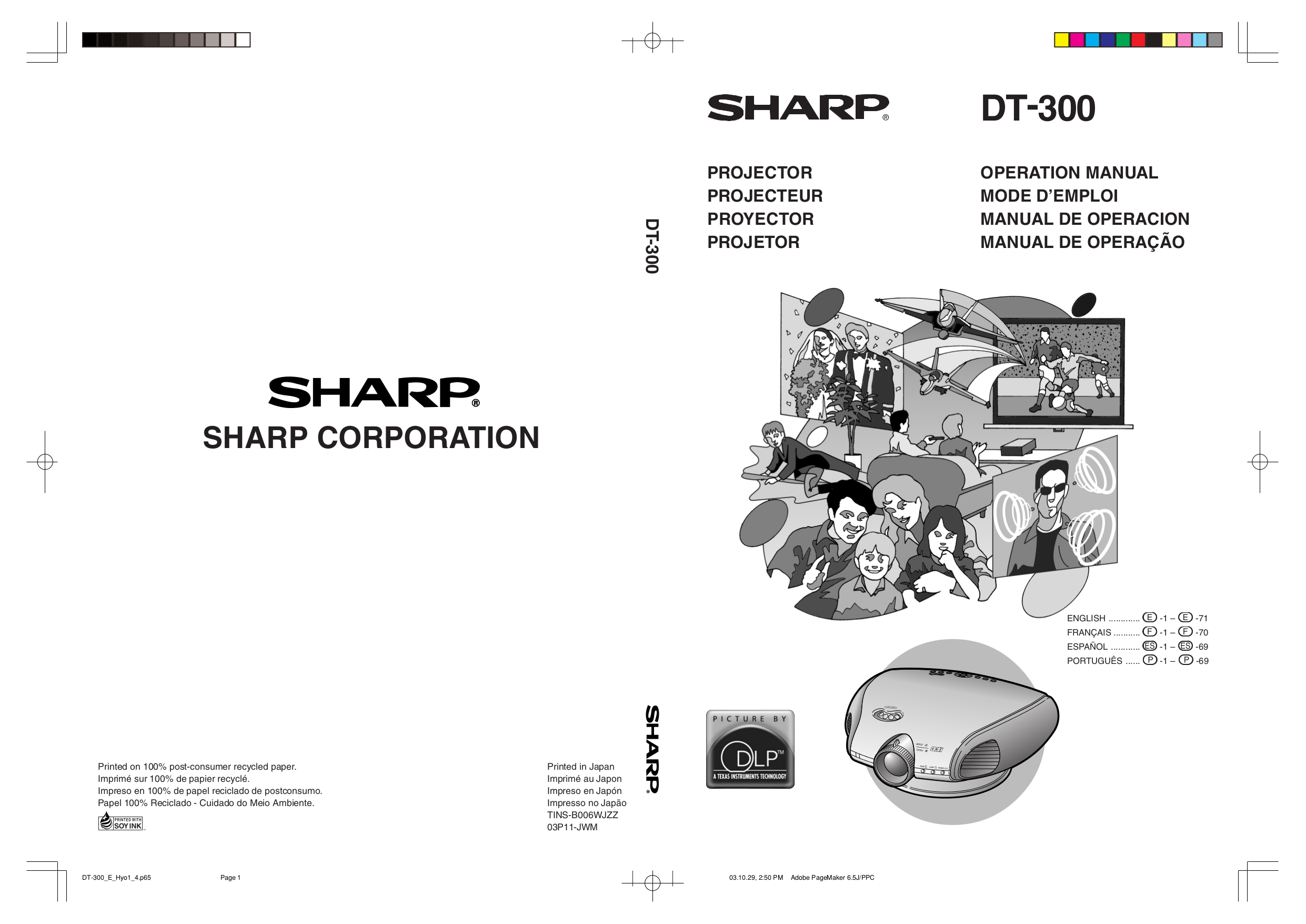 pdf for Sharp Projector DT-300 manual