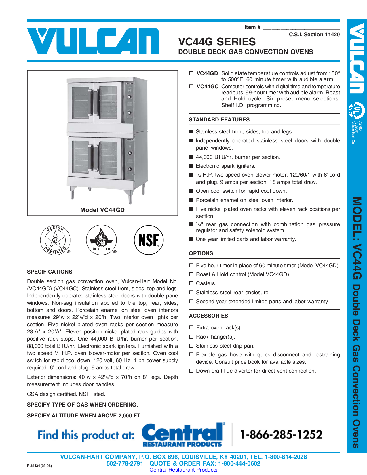 pdf for Vulcan Oven VC44GD manual