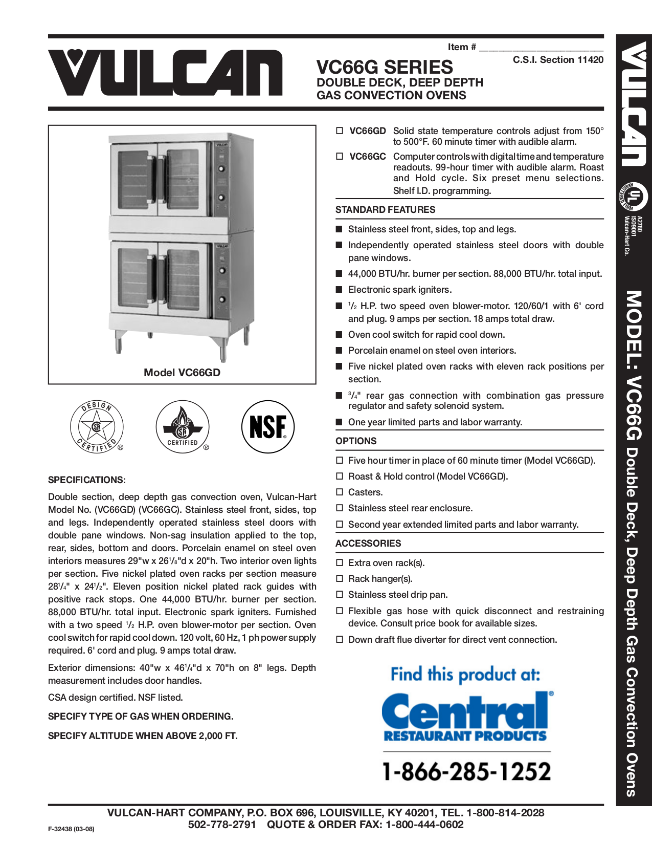 pdf for Vulcan Oven VC66GD manual