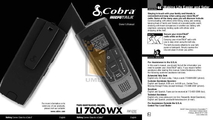 Download Free Pdf For Cobra Microtalk Li7200 2wxvp 2 Way Radio Manual