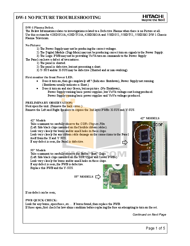 pdf for Hitachi TV 42HDT52 manual