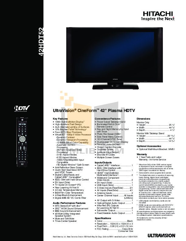 download free pdf for hitachi 42hdt52 tv manual rh umlib com