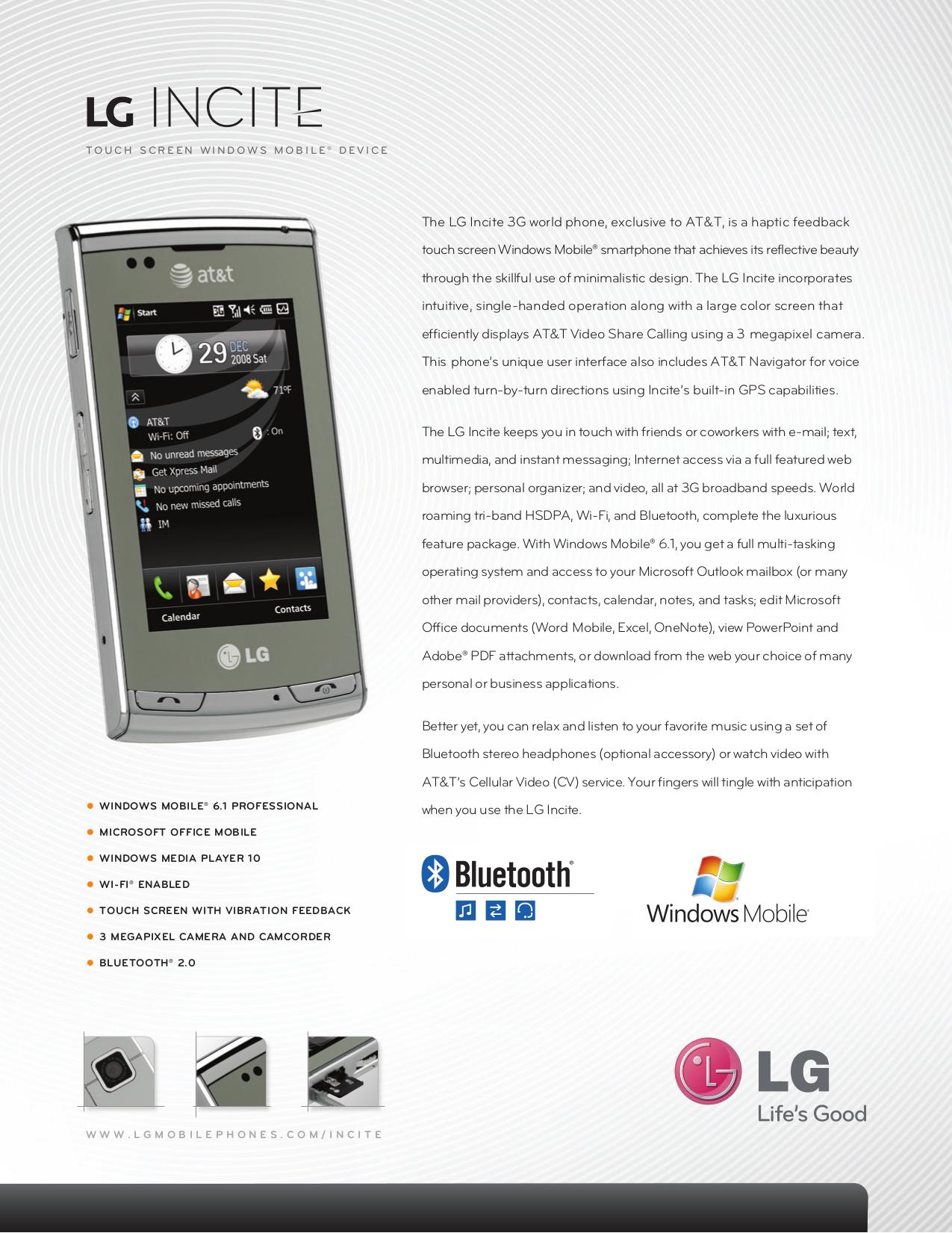download free pdf for lg incite cell phone manual rh umlib com AT&T LG Slide LG Ignite Phone Cover