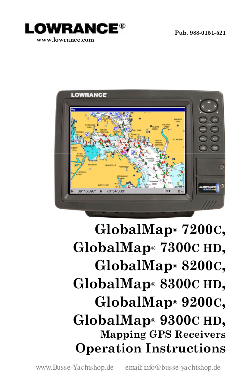 pdf for Lowrance GPS GlobalMap 7200C manual
