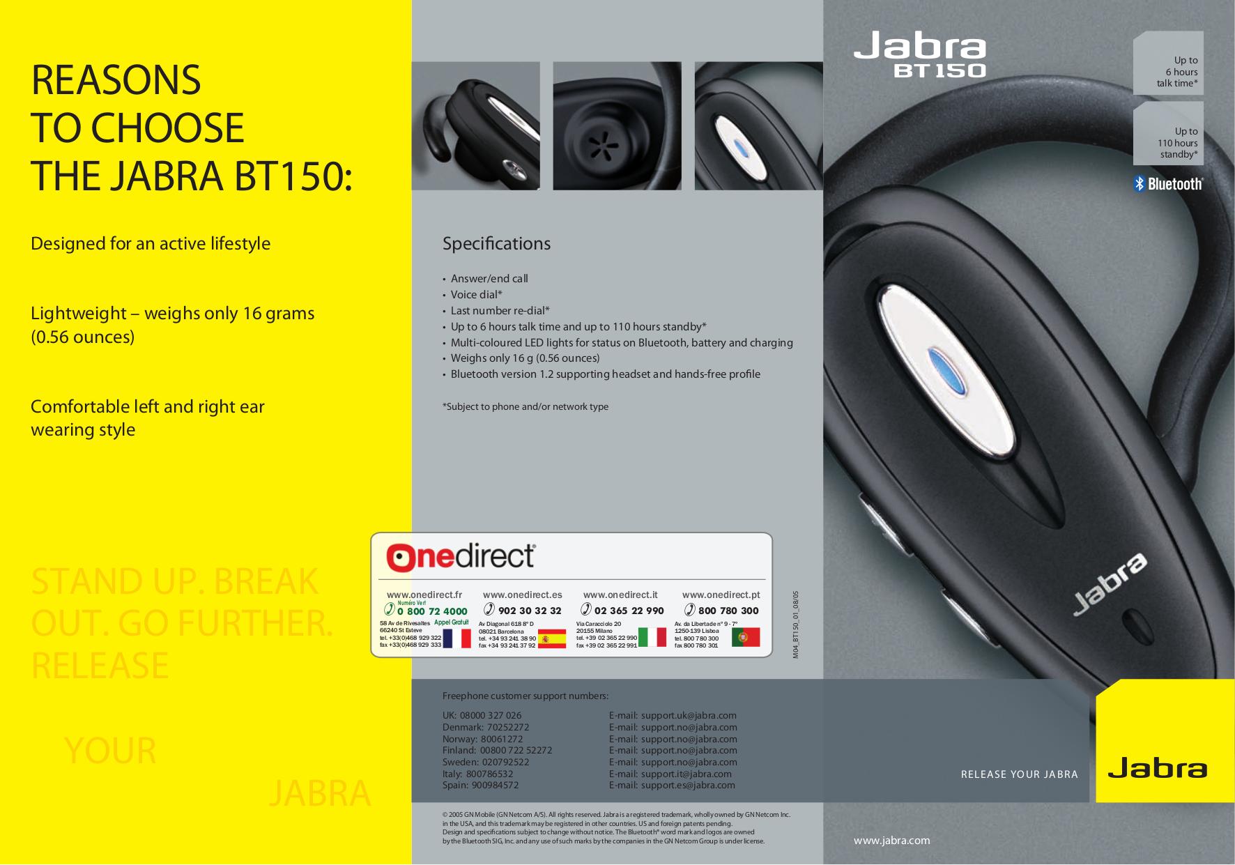 pdf manual for jabra headset bt150 rh umlib com Jabra Bluetooth Manual Jabra Instruction Manuals