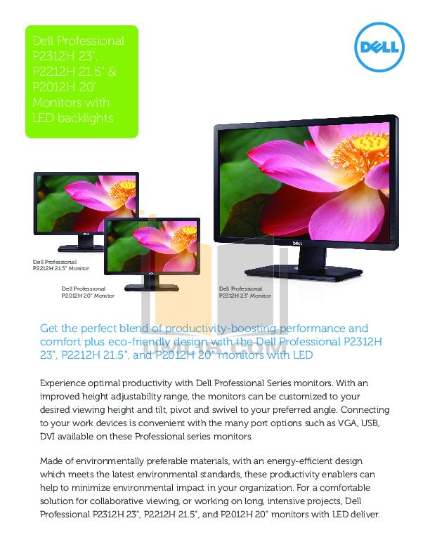 pdf for Dell Monitor P2212H manual