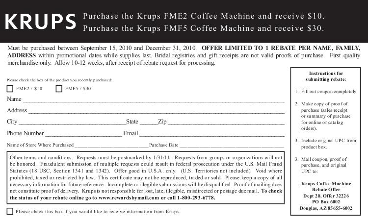 pdf for Krups Coffee Maker FMF5 manual