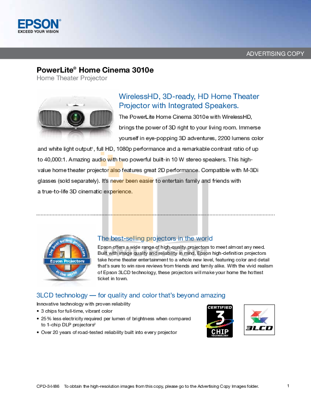 pdf for Epson Projector PowerLite 3010e manual