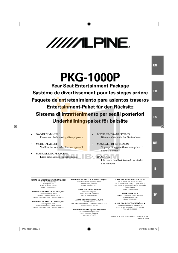 pdf for Alpine Car Video PKG-1000 manual