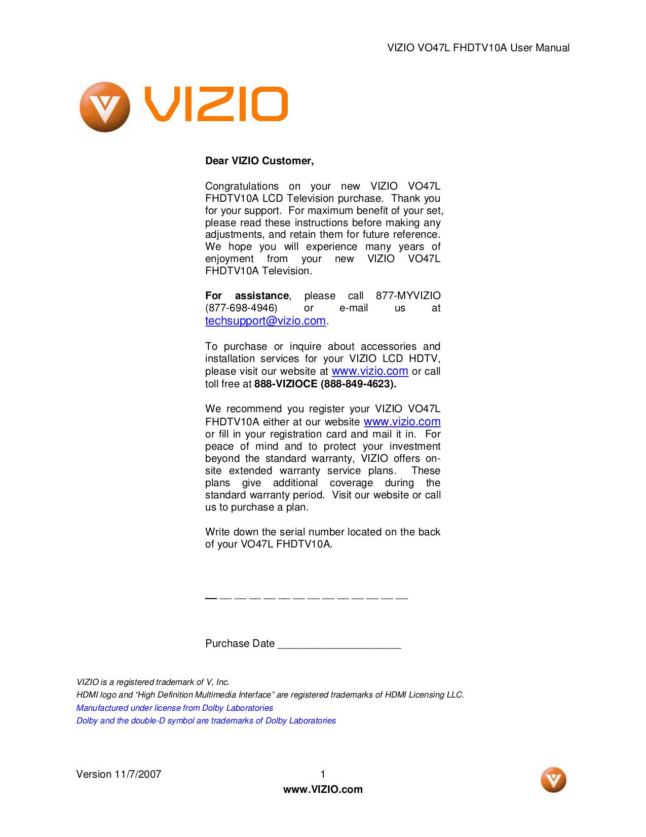 vizio xvt3d474sv service manual