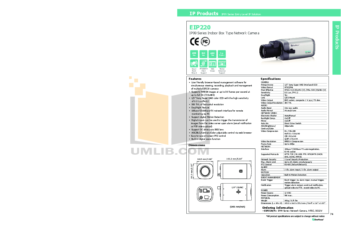 pdf for EverFocus Security Camera EIP220 manual