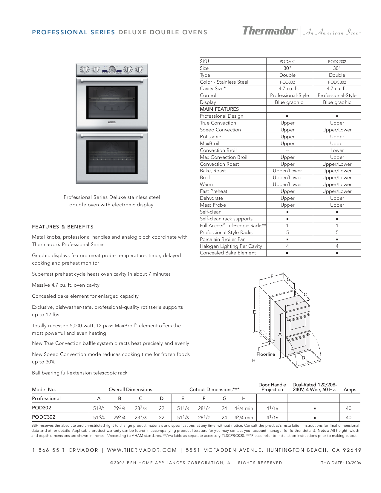 pdf for Thermador Oven PODC302 manual