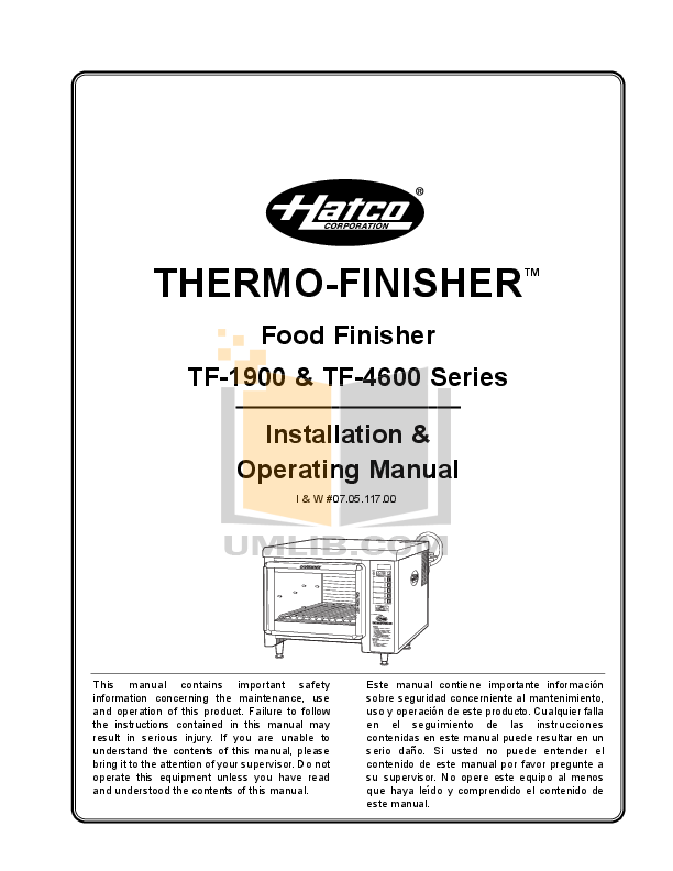 pdf for Hatco Other TF-4619 manual