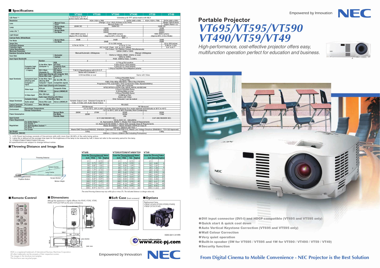 download free pdf for nec vt59 projector manual rh umlib com NEC VT695 Specs nec vt695 manual pdf