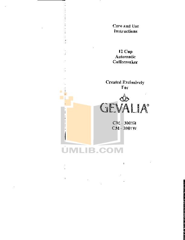 Gevalia Coffee Maker User Manual : Download free pdf for Gevalia C-60A Coffee Maker manual