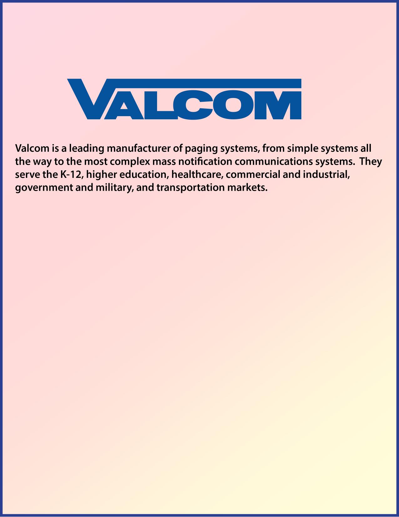 pdf for Valcom Switch V2970 manual