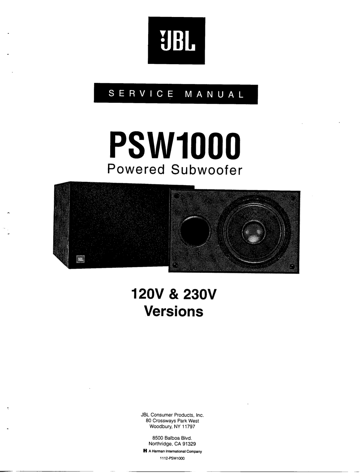 download free pdf for jbl psw1000 speaker manual jbl psw 1000 service manual Psw101b