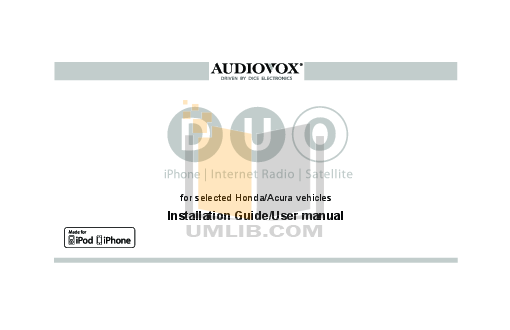 pdf for Audiovox Car Receiver ACD-17 manual