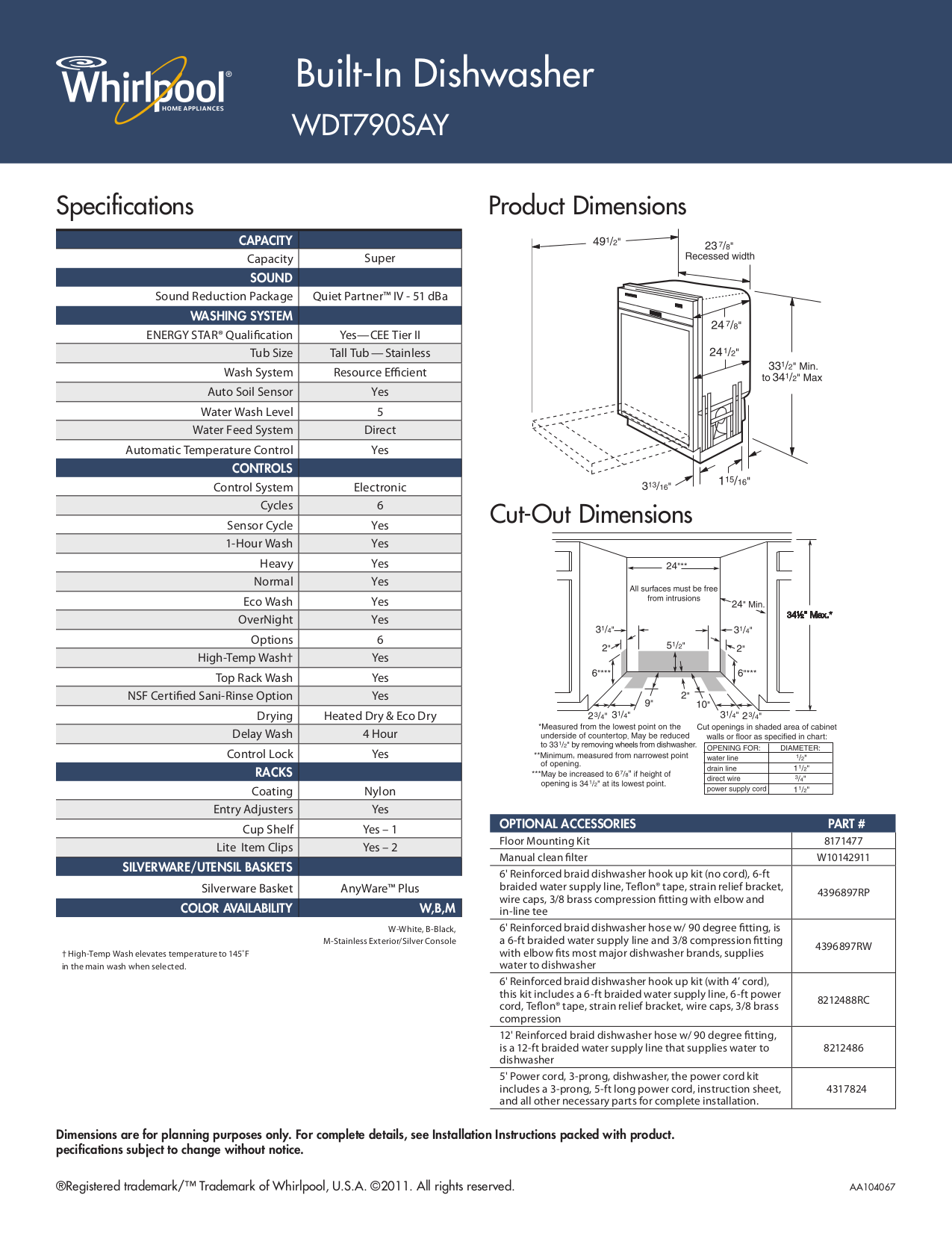 Whirlpool Dishwasher WDT790SAYM pdf page preview