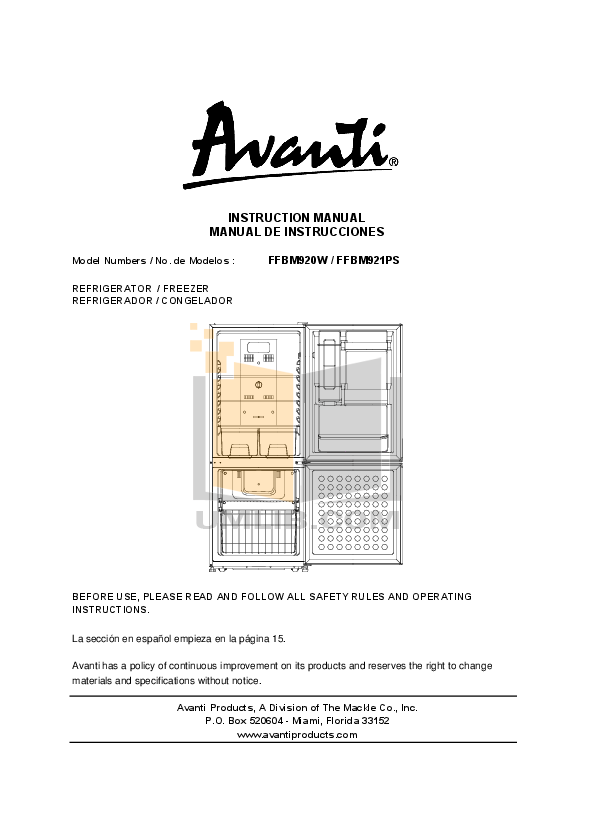 pdf for Avanti Refrigerator FFBM921PS manual
