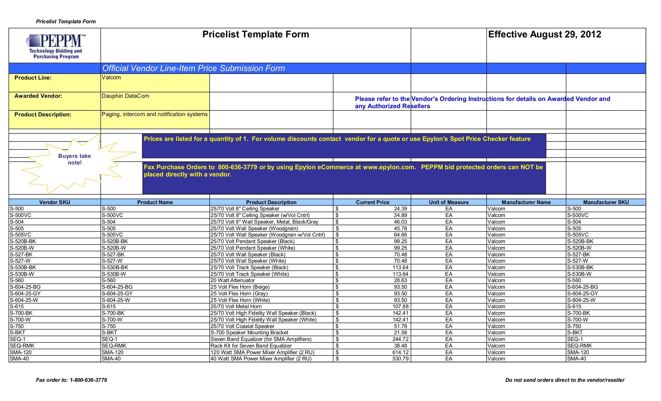 pdf for Valcom Speaker V1070 manual