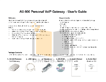 pdf for ATCOM Telephone Gateway AU-600 manual