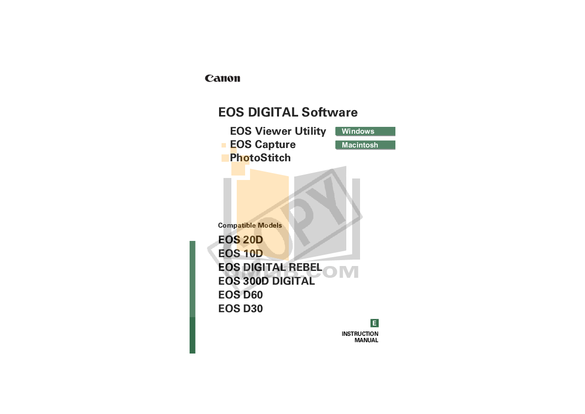 pdf for Canon Digital Camera EOS 300D manual