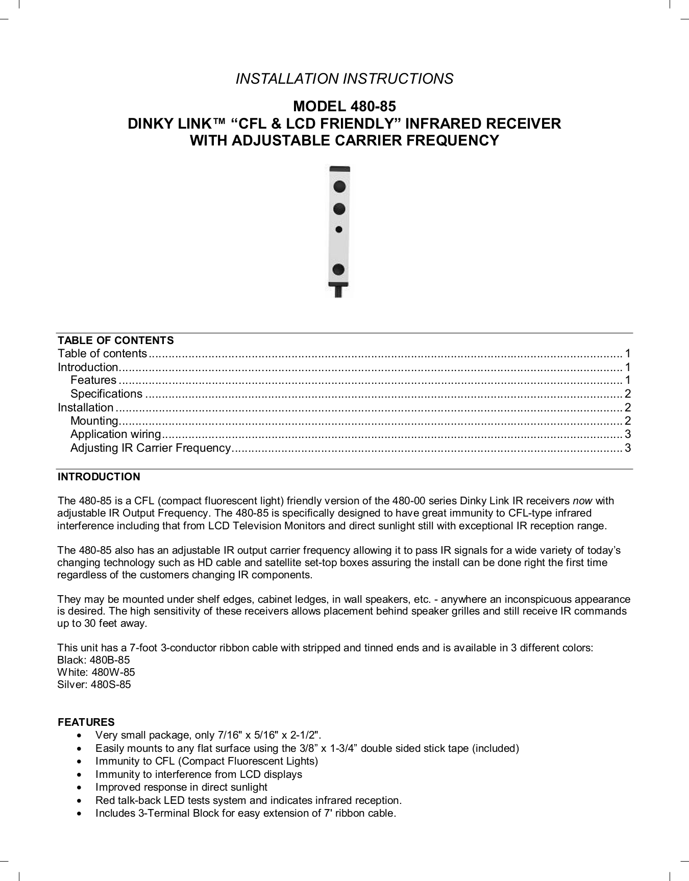 Pdf For Xantech Receiver Dinky Link 480W 30 Manual