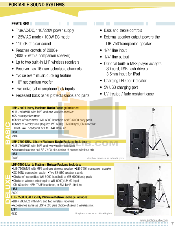 Anchor Speaker AN-130U1BK pdf page preview