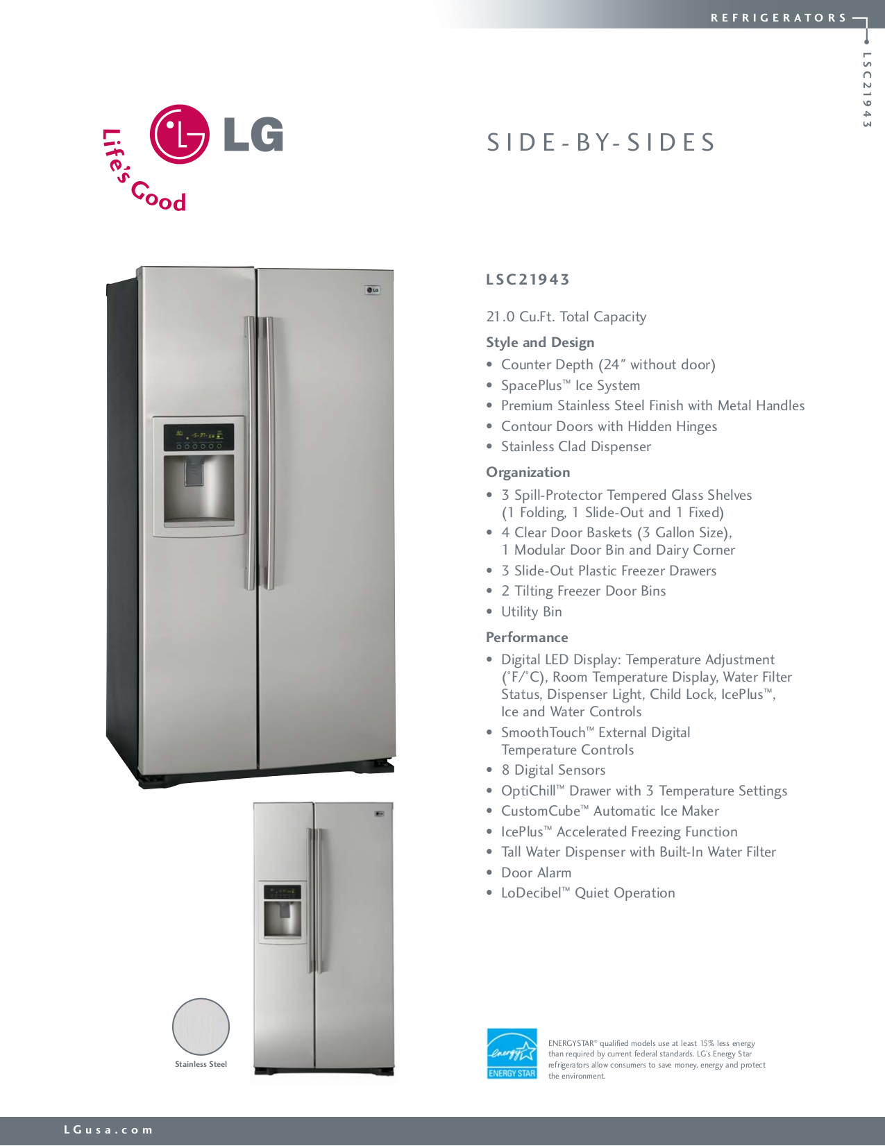 pdf for LG Refrigerator LSC21943 manual