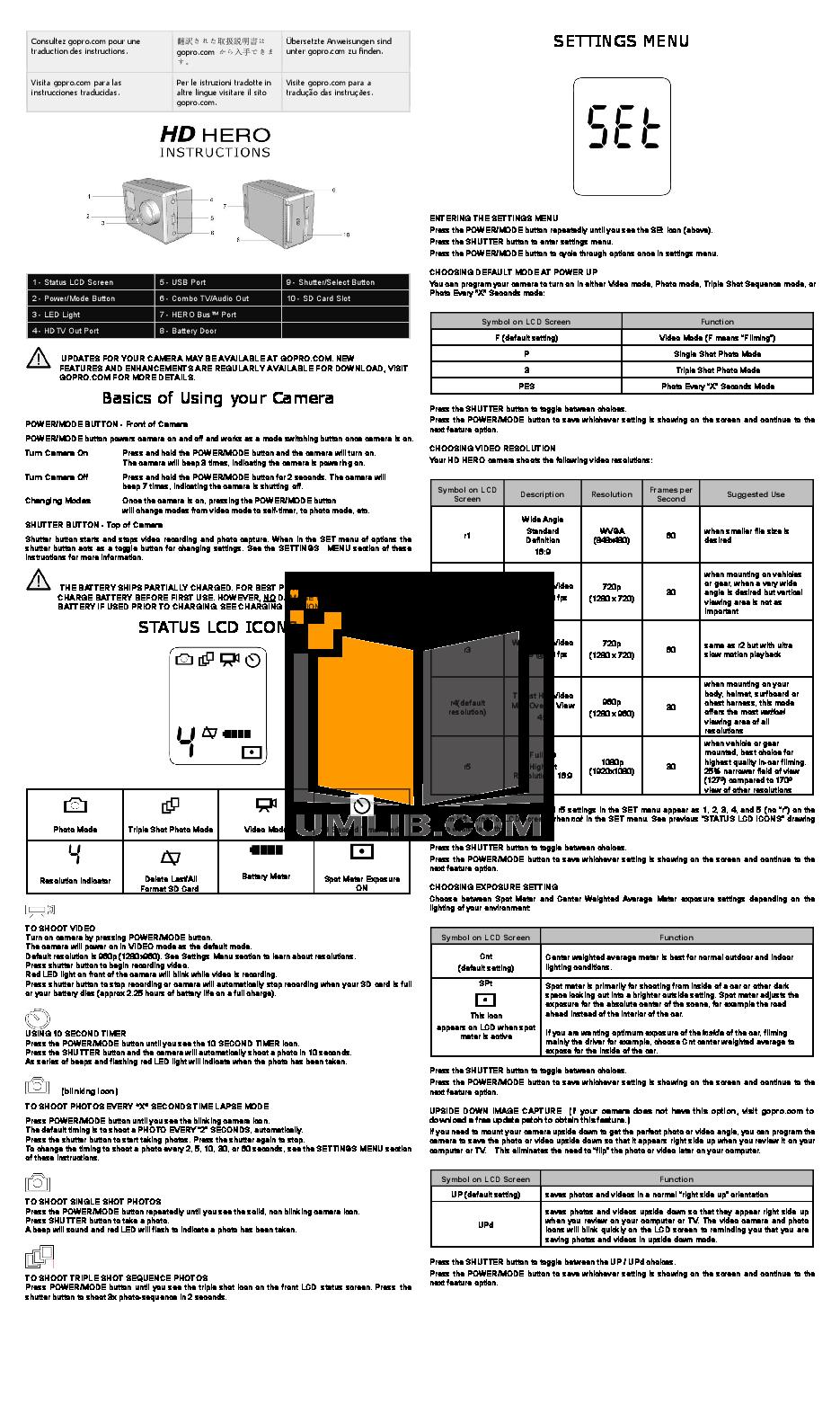 download free pdf for gopro hd hero naked camcorders manual rh umlib com hd hero 960 manual hero 960 user manual