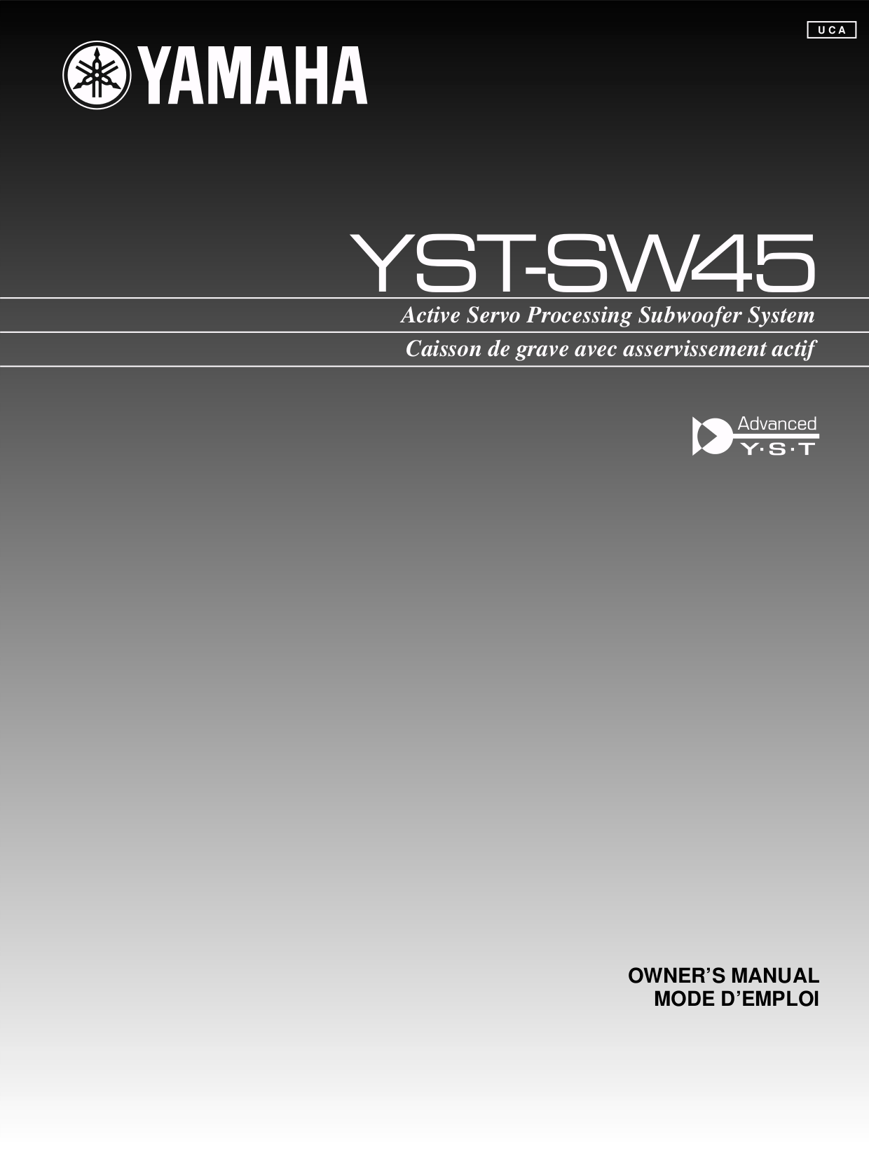 pdf for Yamaha Subwoofer YST-SW45 manual