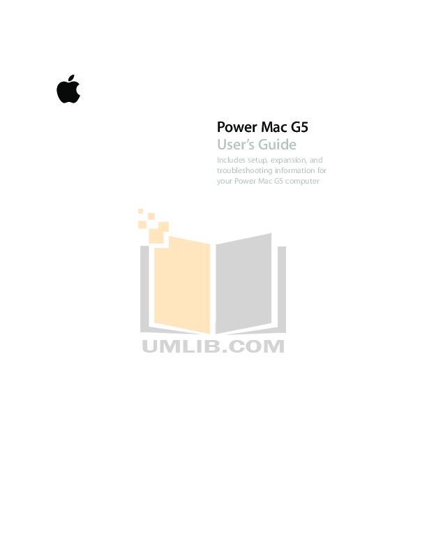 pdf for Apple Desktop Power Mac G5 M9455 manual