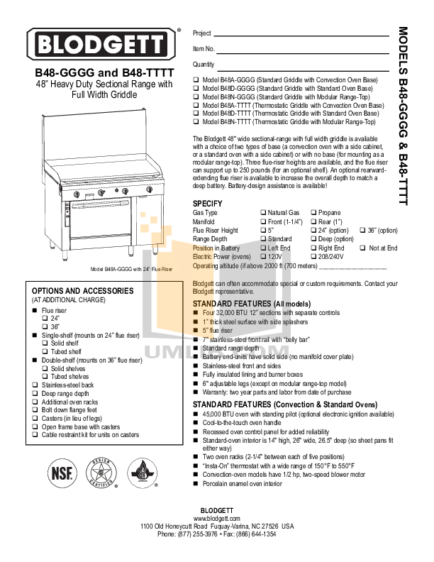 pdf for Blodgett Range B48A-TTTT manual